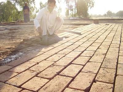 Brickmaking at the local brick kiln.