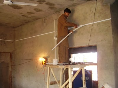 The exterior plastering still needed to be completed after construction was halted.