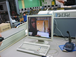 Fauzia presenting her book on Skype.