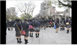 Japanese school girls visit the A-Bomb Dome.