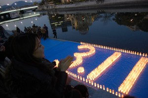 Remembering 3.11 with candles.