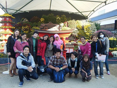 Group photo outside the chrysanthemum exhibition.